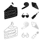 Refreshments and other accessories at the party.Party and partits set collection icons in black,outline style vector. Symbol stock illustration Royalty Free Stock Images