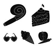 Refreshments and other accessories at the party.Party and partits set collection icons in black style vector symbol. Stock illustration Royalty Free Stock Photos