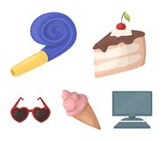 Refreshments and other accessories at the party.Party and partits set collection icons in cartoon style vector symbol. Stock illustration Royalty Free Stock Photos