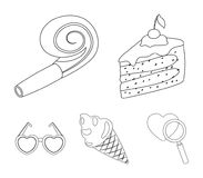 Refreshments and other accessories at the party.Party and partits set collection icons in outline style vector symbol. Stock illustration Stock Photo
