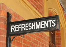 Refreshments sign at a historic railway station platform Royalty Free Stock Photo