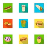 Refreshments, snacks, fast, and other web icon in flat style.Hot, dog, bun, icons in set collection. Refreshments, snacks, fast, and other  icon in flat style Royalty Free Stock Image