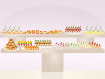 Refreshments with snacks. Illustration of refreshments with snacks Stock Photography