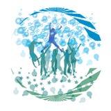 Refresque la danza y las burbujas de la formación Foto de archivo