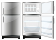 Refridgerator with closed and opened door Stock Images