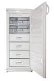 Refridgirator. Freezer with open door isolated on white Stock Images