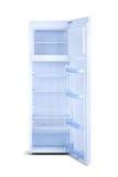 Refrigerador aberto do branco isolado no branco Imagens de Stock Royalty Free