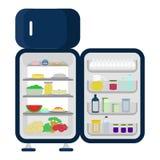 Refrigerador abierto y lleno de la comida Imágenes de archivo libres de regalías