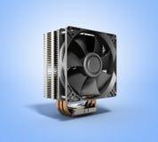 Refrigerador activo de la CPU con el disipador de calor aletado de aluminio y la fan ilustración del vector