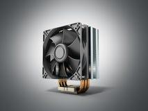 Refrigerador activo de la CPU con el disipador de calor aletado de aluminio y la fan stock de ilustración