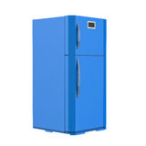 Refrigerador azul isolado no branco Foto de Stock