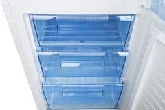 Refrigerador branco no fundo branco Foto de Stock Royalty Free