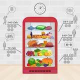 Refrigerador com alimento O grupo de produtos, vitaminas, calorias Imagens de Stock