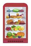 Refrigerador com alimento Os produtos do grupo Ilustração do vetor Imagem de Stock Royalty Free