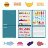 Refrigerador com alimentos Fotografia de Stock Royalty Free