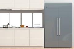 Refrigerador com de lado a lado as portas na cozinha ilustração do vetor