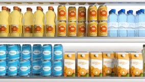 Refrigerador com vários produtos ilustração 3D Fotos de Stock