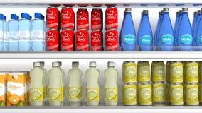 Refrigerador com vários produtos ilustração 3D Imagens de Stock Royalty Free