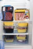 Refrigerador completamente da carne fresca, apenas carne Foto de Stock Royalty Free