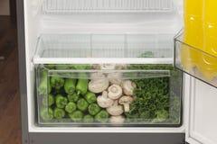 Refrigerador completamente do alimento saudável frutos, vegetais Imagens de Stock