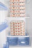 Refrigerador completo apenas com ovos Fotos de Stock Royalty Free