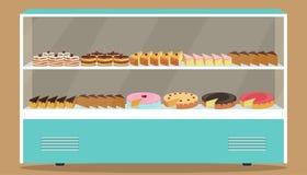 Refrigerador con los estantes y las tortas en él Diversos pasteles y tortas en refrigerador del escaparate Ilustración del vector stock de ilustración