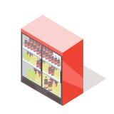 Refrigerador del escaparate para las bebidas de enfriamiento en botella ilustración del vector