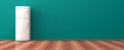 Refrigerador en un piso de madera ilustración 3D Foto de archivo libre de regalías