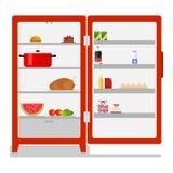 Refrigerador exterior com alimento ilustração stock