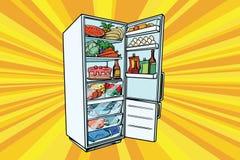 Refrigerador home enchido com o alimento ilustração stock