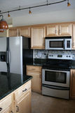 Refrigerador inoxidável dos gabinetes de madeira da cozinha Imagem de Stock