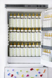 Refrigerador por completo de biberones con leche Foto de archivo libre de regalías