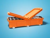 Refrigerador portátil anaranjado moderno para las bebidas en las latas de aluminio 3d rendir en fondo azul con la sombra libre illustration