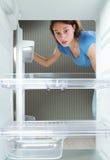 Refrigerador vacío Fotos de archivo libres de regalías