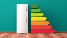 Refrigerador y grado del rendimiento energético ilustración 3D Foto de archivo