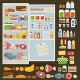 Refrigerador y sistema de comida ilustración del vector