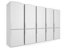 Refrigeradores brancos Fotografia de Stock Royalty Free