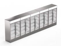 Refrigeradores comerciais vazios isométricos fotos de stock
