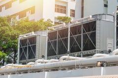 Refrigeradores del aire de la HVAC en unidades del tejado de acondicionador de aire foto de archivo