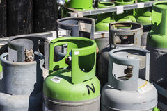Refrigerant gas cylinders ready to transport Royalty Free Stock Photos
