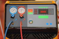Refrigerant Recovery Machine. Tools in Service Garage Royalty Free Stock Photos