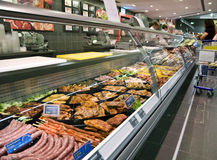 Refrigerated counter in supermarket Royalty Free Stock Image