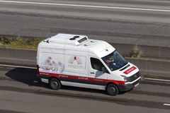 Refrigerated delivery van on the road Stock Photography