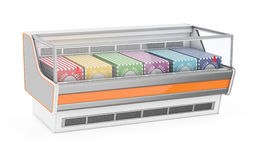Refrigerated display case with pizza Stock Photography