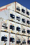 Refrigerated shipping containers stacked at the Port of Hamburg Stock Photo
