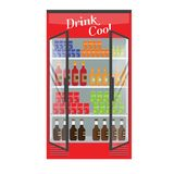 Refrigerated supermarket display case full with multiple drinks and beverages. Illustrated vector for your Mockup design. Flat color style Stock Photography