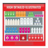Refrigerated supermarket display case full with multiple drinks and beverages. Illustrated vector for your Mockup design. Flat color style Royalty Free Stock Images