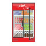 Refrigerated supermarket display case full with multiple drinks and beverages. Illustrated vector for your Mockup design. Flat color style Stock Images