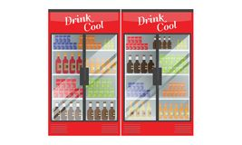 Refrigerated supermarket display case full with multiple drinks and beverages. Illustrated vector for your Mockup design. Flat color style Stock Photo