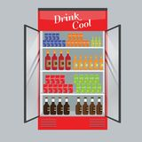 Refrigerated supermarket display case full with multiple drinks and beverages. Illustrated vector for your Mockup design. Flat color style Stock Photos